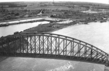 Nijmegen rail bridge aerial photograph