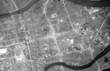 Aerial image of Hiroshima after atomic bomb