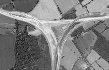 Aerial photo of M40/M42 Junction 3A under construction