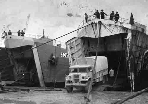 Unloading from LST's