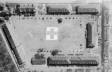 Aerial image of hospital on VE-day, 8 May 1945